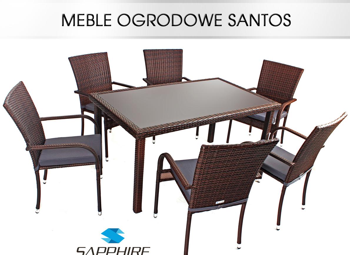 MEBLE OGRODOWE SANTOS RATTANOWE 1+6 +PODUSZKI 1gx  5643702767
