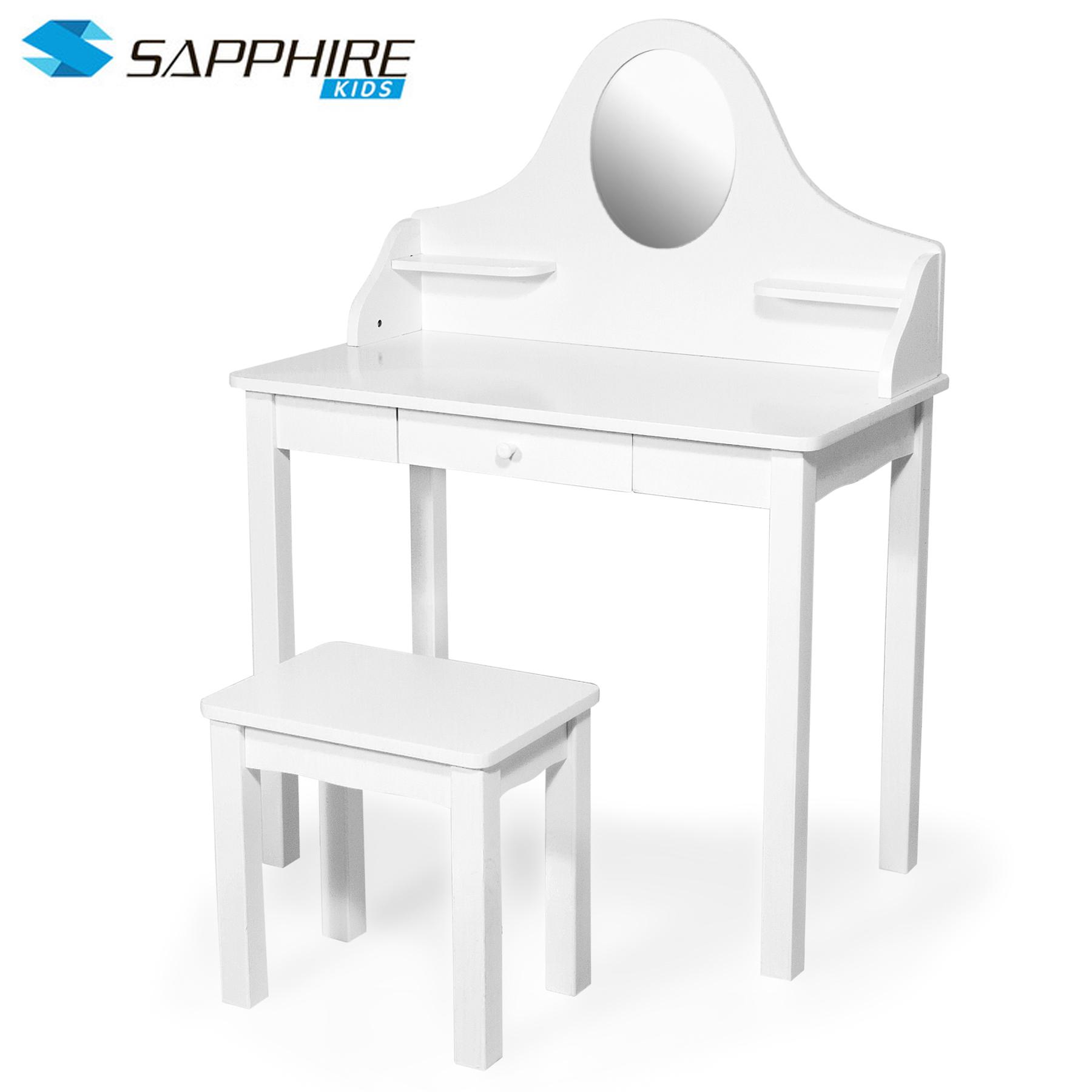 kinder schminktisch frisiertisch stuhl tisch mit spiegel schublade rollenspiel ebay. Black Bedroom Furniture Sets. Home Design Ideas